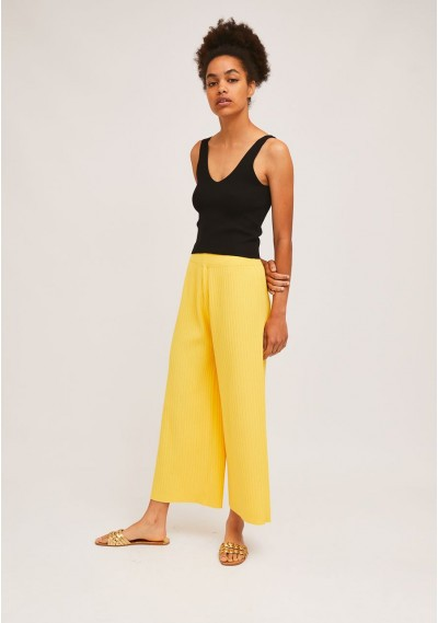 Yellow rib-stitch ankle-grazer trousers with elasticated waist -  Compañía Fantástica