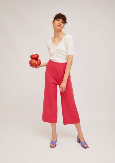 Pink rib-stitch ankle-grazer trousers with elasticated waist -  Compañía Fantástica