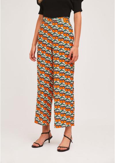 Straight-leg apricot print...