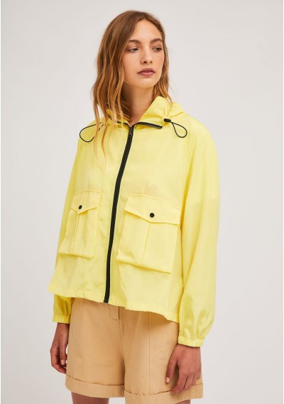 Short yellow parka with zip...