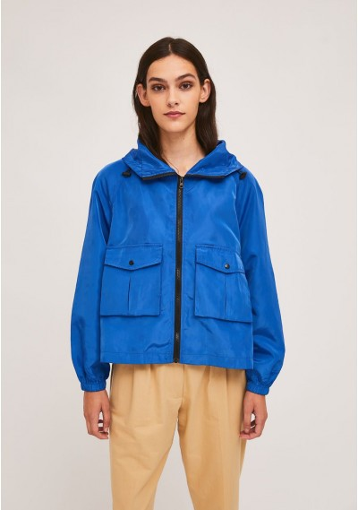 Short blue parka with zip...