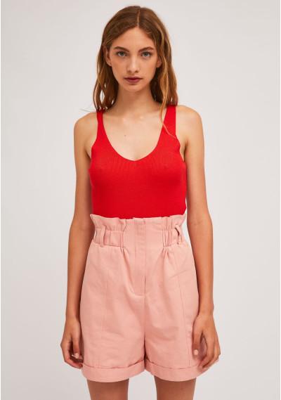 Pink high-waisted shorts...