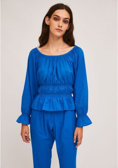 Blue top with elastic waist...