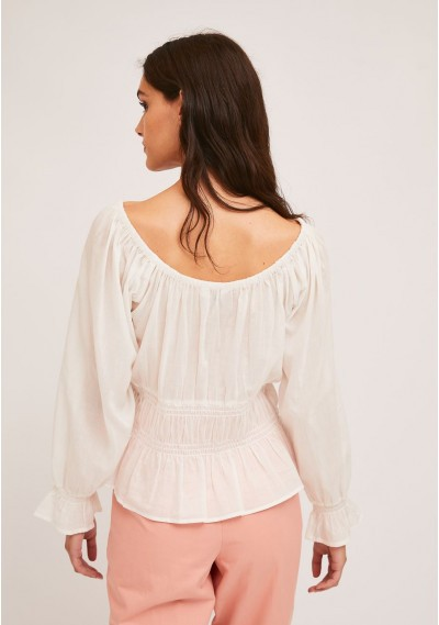 White top with elastic waist and cuff details -  Compañía Fantástica