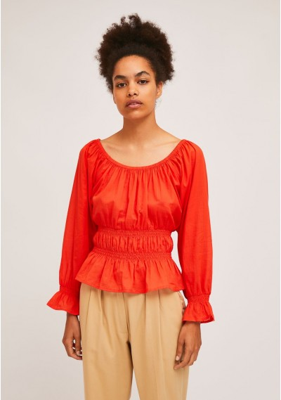 Red top with elastic waist...