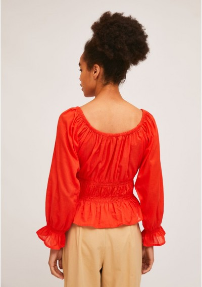 Red top with elastic waist and cuff details -  Compañía Fantástica