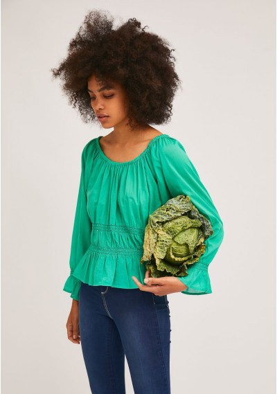 Green top with elastic waist and cuff details -  Compañía Fantástica
