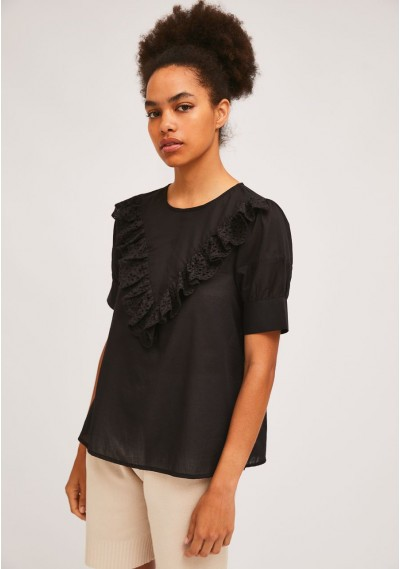 Black top with front lace...
