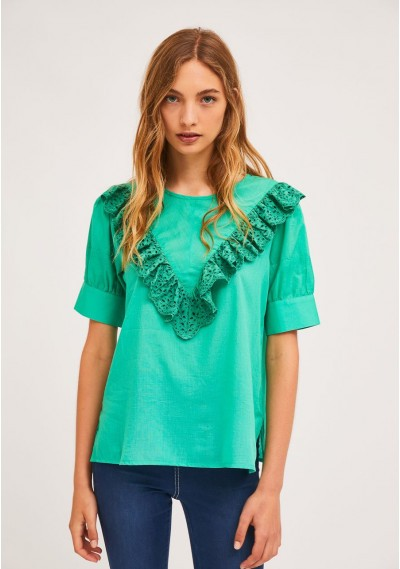 Green top with front lace...
