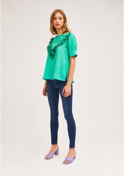Green top with front lace ruffle -  Compañía Fantástica