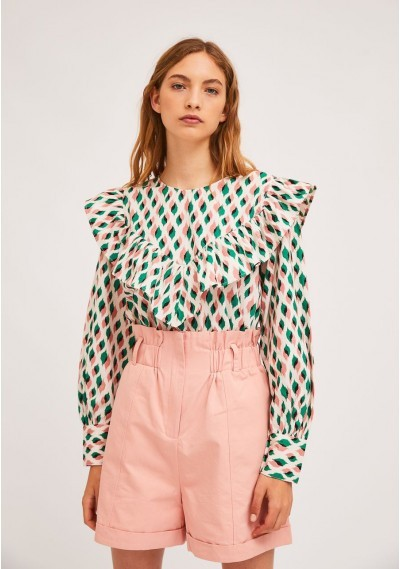 Top with bust ruffles and...
