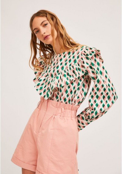 Top with bust ruffles and bow-tie print. -  Compañía Fantástica