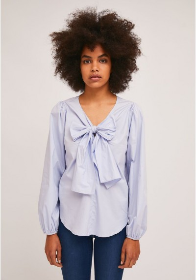 Blue puff-sleeve top with...