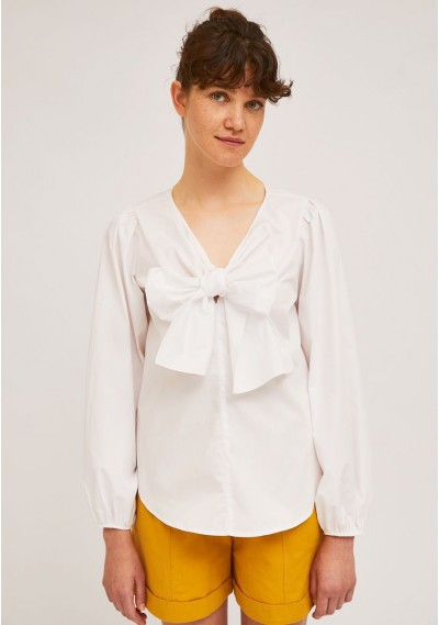 White puff-sleeve top with...