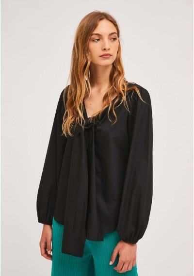 Black puff-sleeve top with...