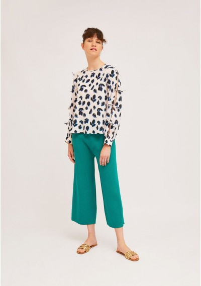 A-line tulip print top with slitted sleeves -  Compañía Fantástica