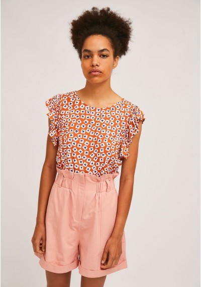 Heart print A-line top with...