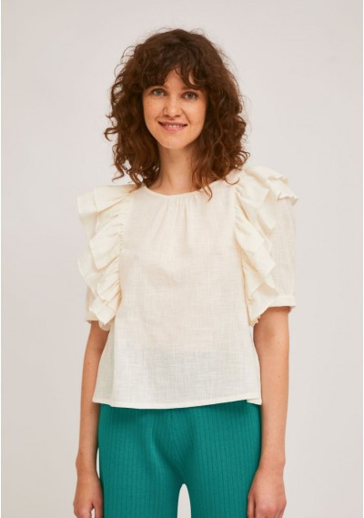 Plain white A-line top with...