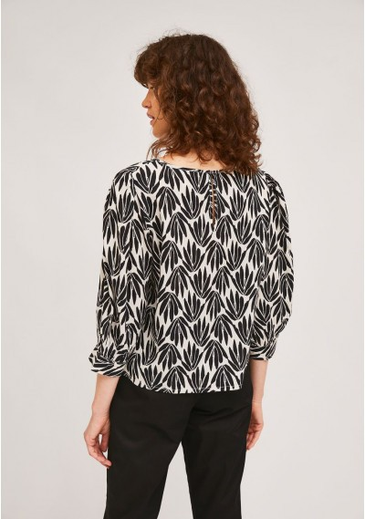 Fluid-fabric top with black foliage print -  Compañía Fantástica