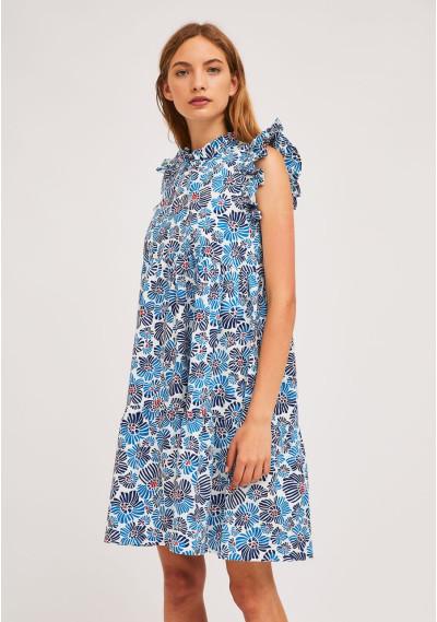 Short blue flower print...