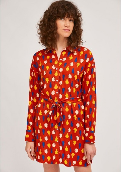 Belted pottery print shirt...