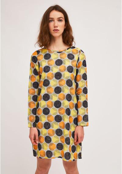 Short A-line polka-dot sun...