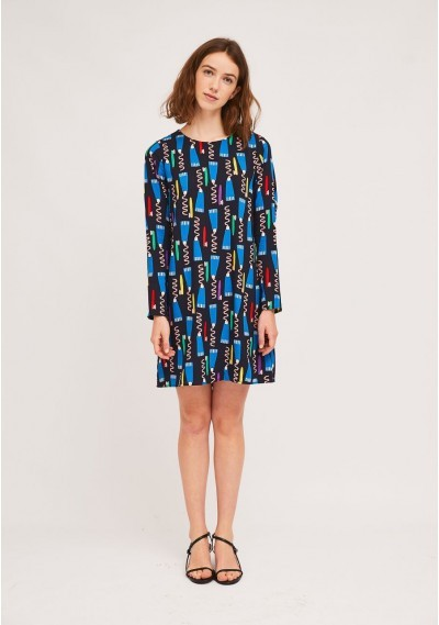 A-line toothbrush and toothpaste print dress -  Compañía Fantástica