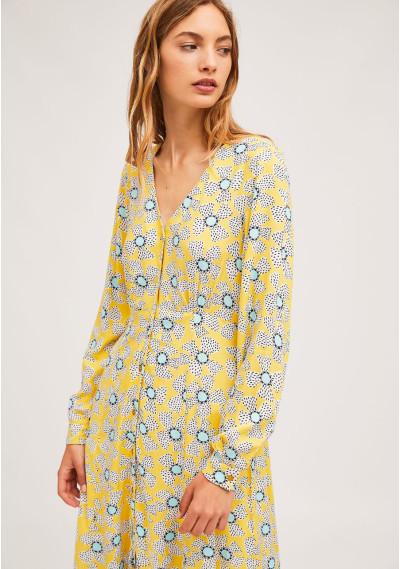 Buttoned wild flower print midi dress -  Compañía Fantástica