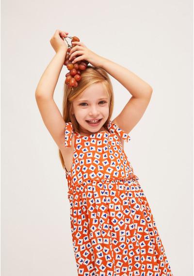 MINI | Orange heart print strap dress -  Compañía Fantástica