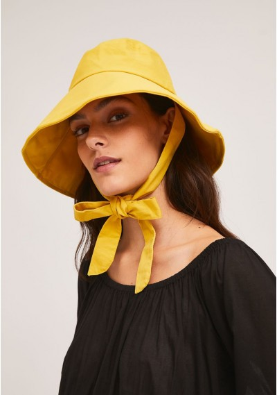 Yellow bucket hat with...