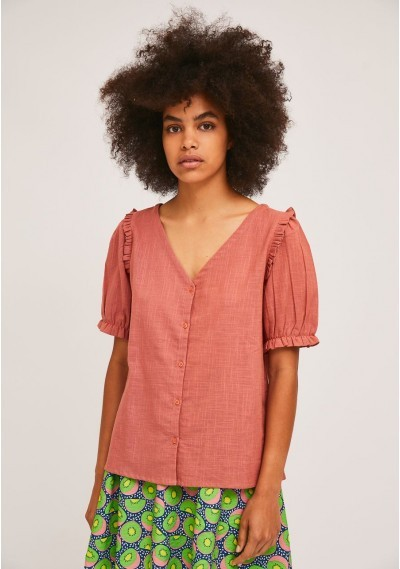 Pink cotton blouse with...