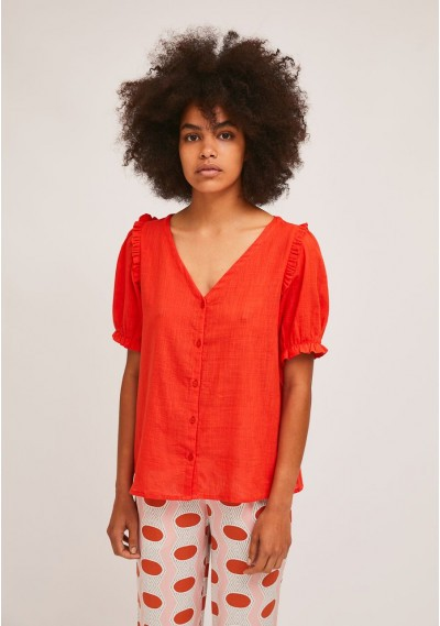 Red cotton blouse with...