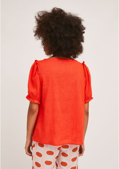 Red cotton blouse with gathered details -  Compañía Fantástica