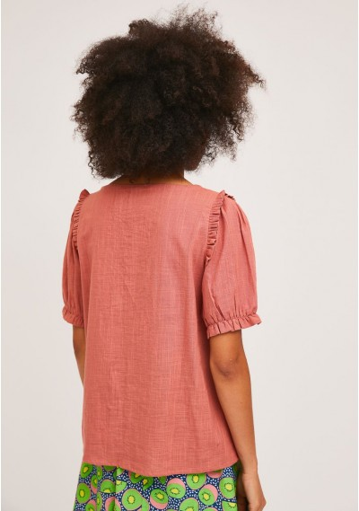 Pink cotton blouse with gathered details -  Compañía Fantástica