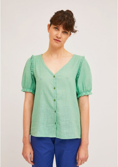 Green cotton blouse with...