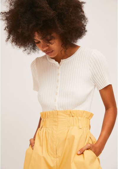 White rib stitch cardigan with short sleeves -  Compañía Fantástica