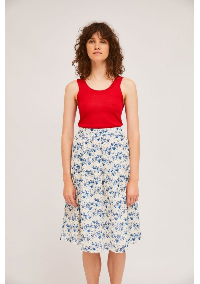 A-line midi skirt with hen...