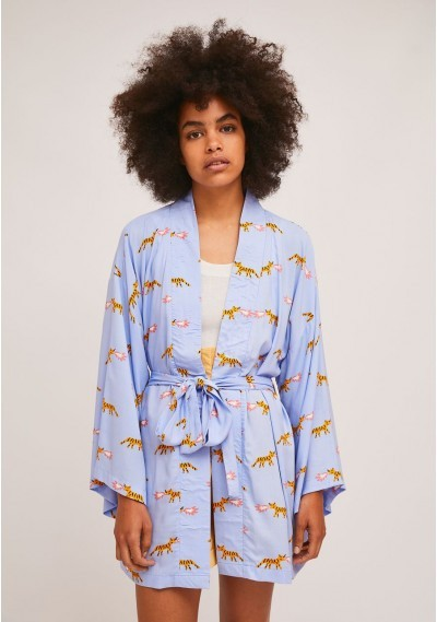 Short belted kimono with...