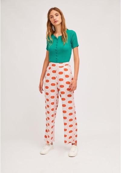 Straight-leg trousers with geometric oval print -  Compañía Fantástica