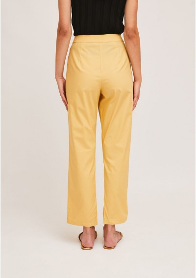 Yellow ankle grazer trousers with decorative belt loops -  Compañía Fantástica