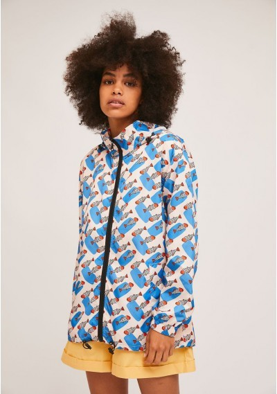 Short parka with hood and...