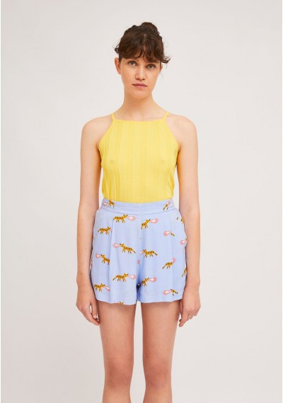 Pleated shorts with tiger...