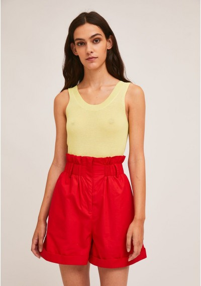 Red high-waisted shots with...