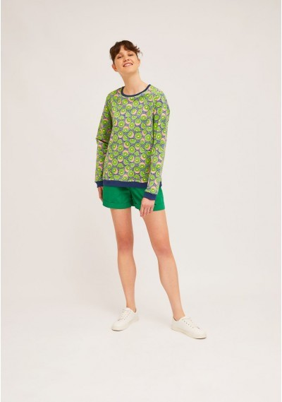 Cotton sweater with ribbed finish and kiwi print -  Compañía Fantástica