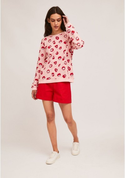 Cotton sweater with ribbed finish and monkey print -  Compañía Fantástica