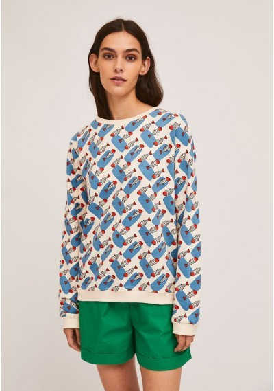 Cotton sweater with ribbed...