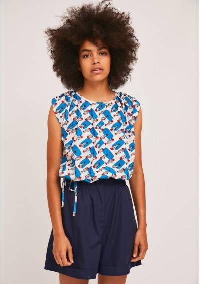 Bubble hem top with...