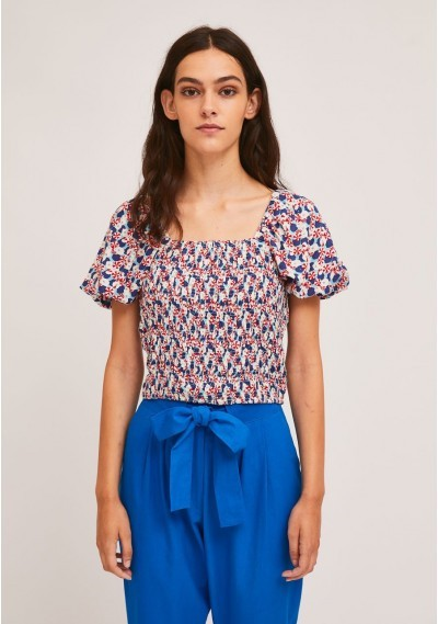 Smocked top with petunia print