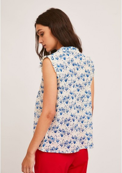Top with pleats and ruffles with hen print -  Compañía Fantástica