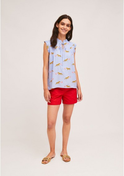 Top with pleats and ruffles with tiger and fire print -  Compañía Fantástica